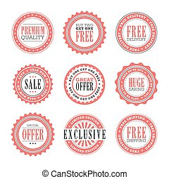 Retail stamps and badges - A set of 9 retail stamps and...