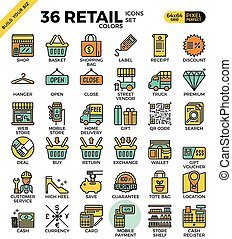 Retail Store pixel perfect outline icons