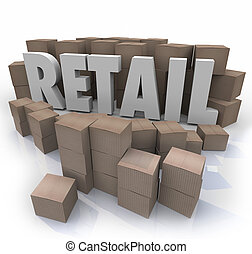 Retail Word Cardboard Boxes Store Products Inventory Stock...