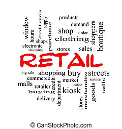 Retail Word Cloud Concept in red caps with great terms such as stores, shopping, sales and more.