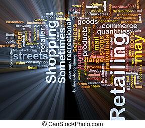 retailing, woord, wolk, doosje, verpakken