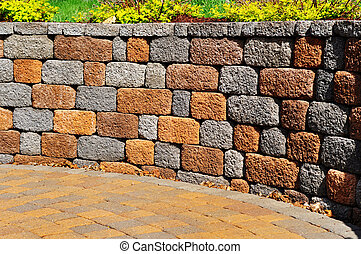 Retaining wall and patio, copy space