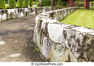 Retaining wall in garden.