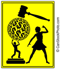 Retaliation in Court - Concept sign of a woman who is...