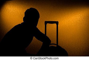 retard, -, voyage, silhouette, homme