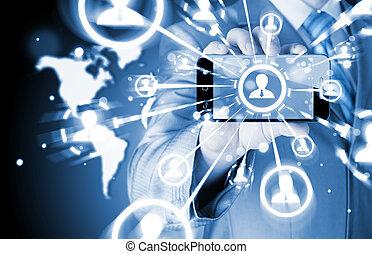 rete, affari, mostra, mano, telefono, presa a terra, sociale