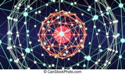 rete, astratto, blockchain, animazione, tecnologia, cappio