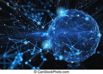 rete, astratto, effetto, collegamento, internet, mondo