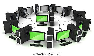rete computer, collegamento, concetto
