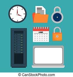 rete computer, collezione, icone