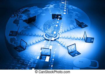rete computer, e, internet, comunicazione, concetto