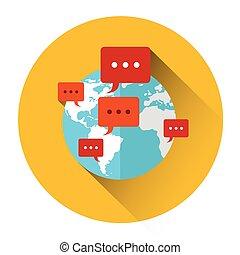 rete, comunicazione, globo, chiacchierata, internazionale, mondo, bolle, icona