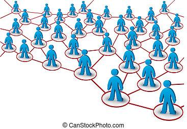 rete, con, persone