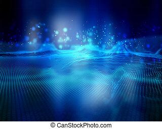 rete, dots., linee, collegamenti, connettere, fondo, tecnologia digitale, paesaggio, 3d