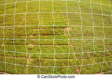 rete, e, asciutto, erba, fondo, su, il, football, field.