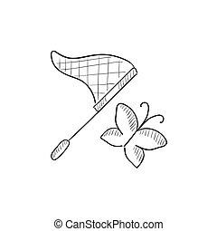 rete farfalla, schizzo, icon.