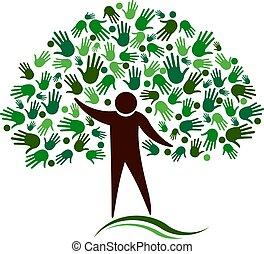 rete, figura, albero, vettore, mani umane, logotipo