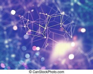 rete, fuoco poco profondo, collegamenti, fondo, 3d