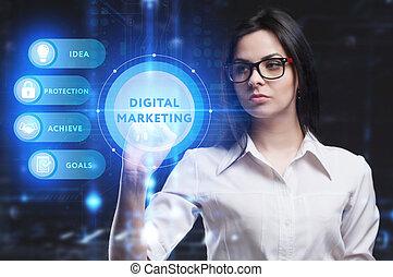 rete, futuro, digitale, schermo, vede, tecnologia, virtuale, vendita internet, inscription:, lavorativo, affari, uomo affari, giovane, concept.