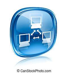 rete, icona, vetro blu, isolato, bianco, fondo.