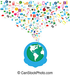 rete, icone, media, fondo, sociale, uomo