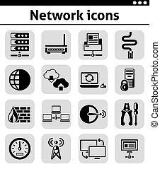rete, icone, set, nero