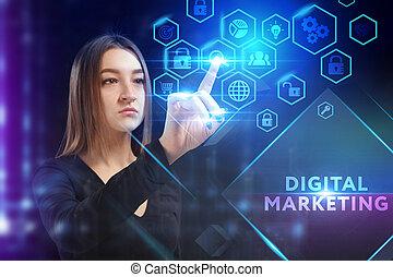 rete, inscription:, affari digitali, virtuale, vede, schermo, concept., giovane, tecnologia, futuro, uomo affari, vendita internet, lavorativo
