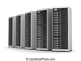 rete, isolato, sistema servizio, bianco, fila, centro dati