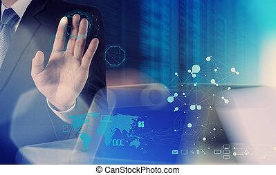 rete, lavorativo, mostra, moderno, computer, uomo affari, nuovo, sociale