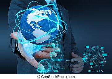 rete, lavorativo, mostra, moderno, mano, computer, uomo affari, nuovo, struttura, sociale