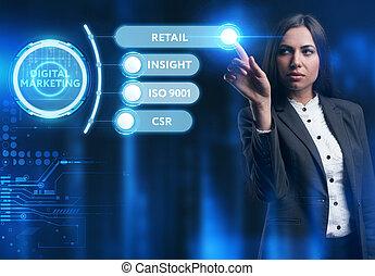 rete, lavorativo, virtuale, futuro, giovane, digitale, vede, uomo affari, inscription:, concept., affari, marketing, tecnologia, internet, schermo