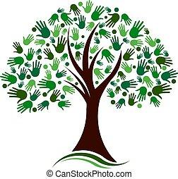 rete, mani, albero, vettore, sociale, logotipo