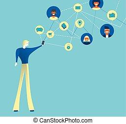 rete, media, app, telefono, sociale, amici, uomo