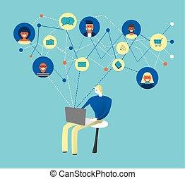 rete, media, computer, sociale, usando, uomo