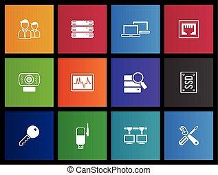 rete, metro, icone, -, computer, più