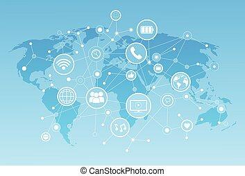 rete, mondo, sopra, comunicazione, fondo, icone, mappa, media, concetto, collegamento, sociale