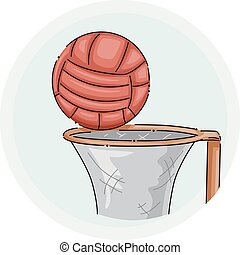 rete, palla, illustrazione