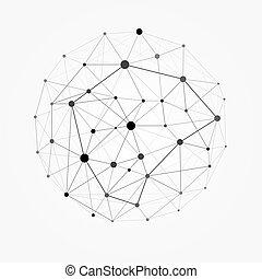 rete, puntino, wireframe, sphere., illustrazione, polygonal, linea, disegno, sfera, struttura, maglia