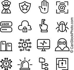 rete, set, sicurezza computer, icona, software