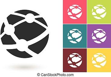 rete, simbolo, vettore, sociale, o, icona