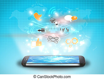 rete, sociale, concetto, media