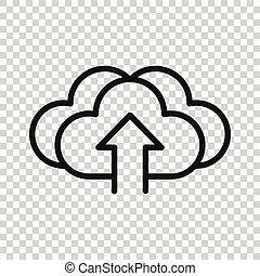 rete, style., affari, bianco, isolato, servizio, fondo., icona, computer, vettore, concept., appartamento, digitale, nuvola, tecnologia illustrazione