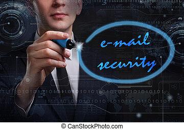 rete, tecnologia affari, concept., giovane, affari, posta elettronica, uomo, sicurezza internet, scrittura, word: