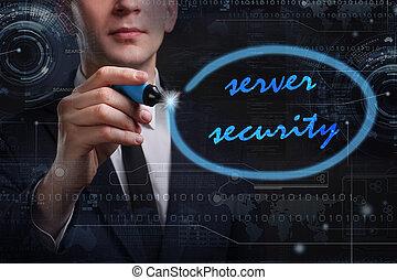 rete, tecnologia affari, concept., giovane, server, uomo, internet, scrittura, sicurezza, affari, word: