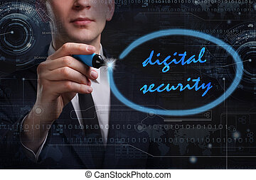 rete, tecnologia affari, concept., internet, giovane, affari, uomo, digitale, sicurezza, scrittura, word: