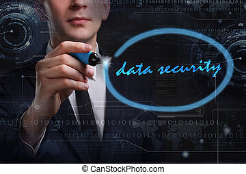 rete, tecnologia affari, concept., giovane, affari, uomo, sicurezza internet, scrittura, dati, word: