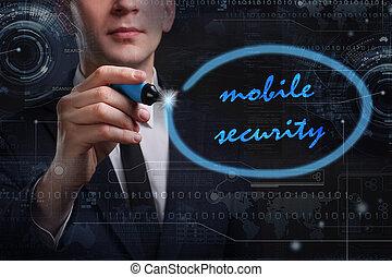 rete, tecnologia affari, mobile, concept., giovane, affari, uomo, sicurezza internet, scrittura, word: