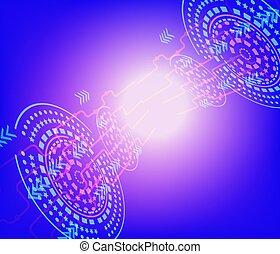 rete, tecnologia, alto, collegare