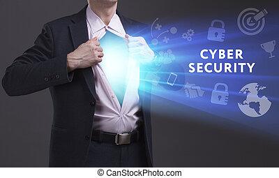 rete, tecnologia, concept., giovane, cyber, affari, internet, uomo affari, sicurezza, mostra, word: