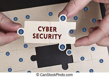rete, tecnologia, concetto, giovane,  Cyber, affari,  internet, uomo affari, sicurezza, mostra,  word: